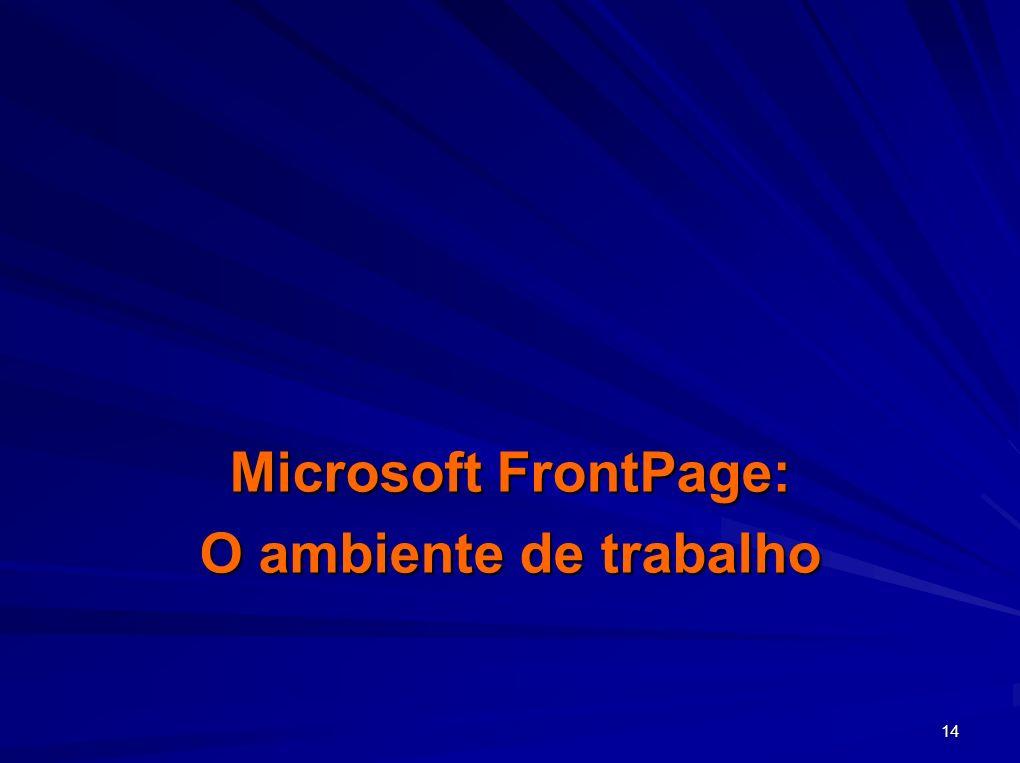 Microsoft FrontPage: O ambiente de trabalho