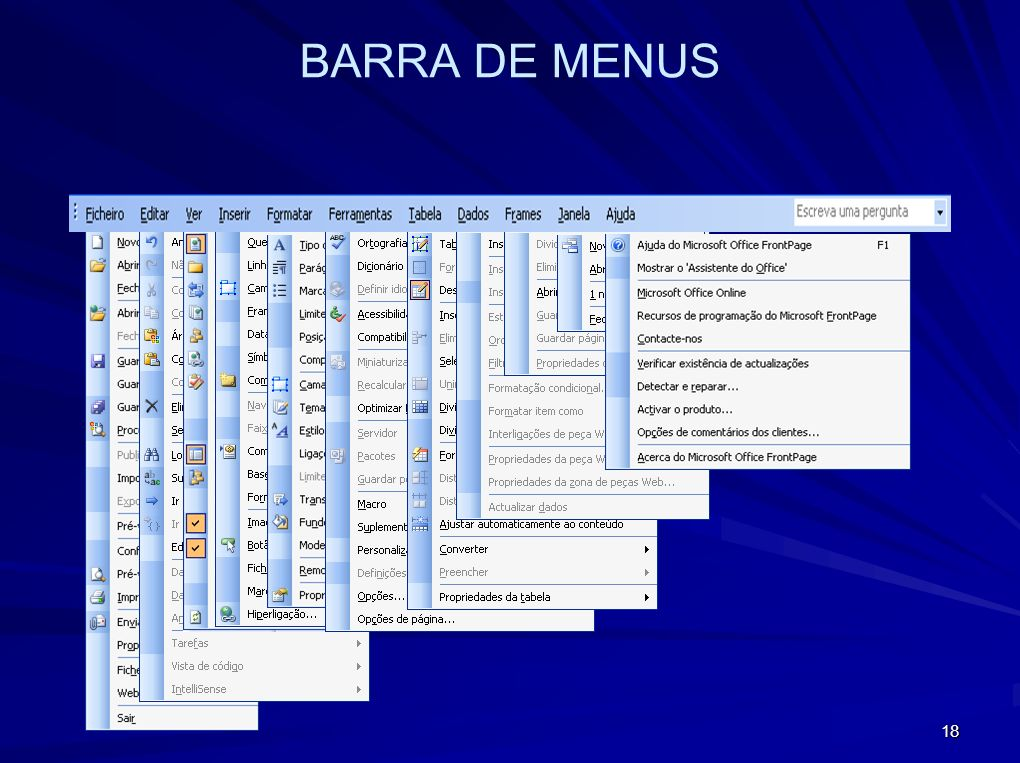 BARRA DE MENUS