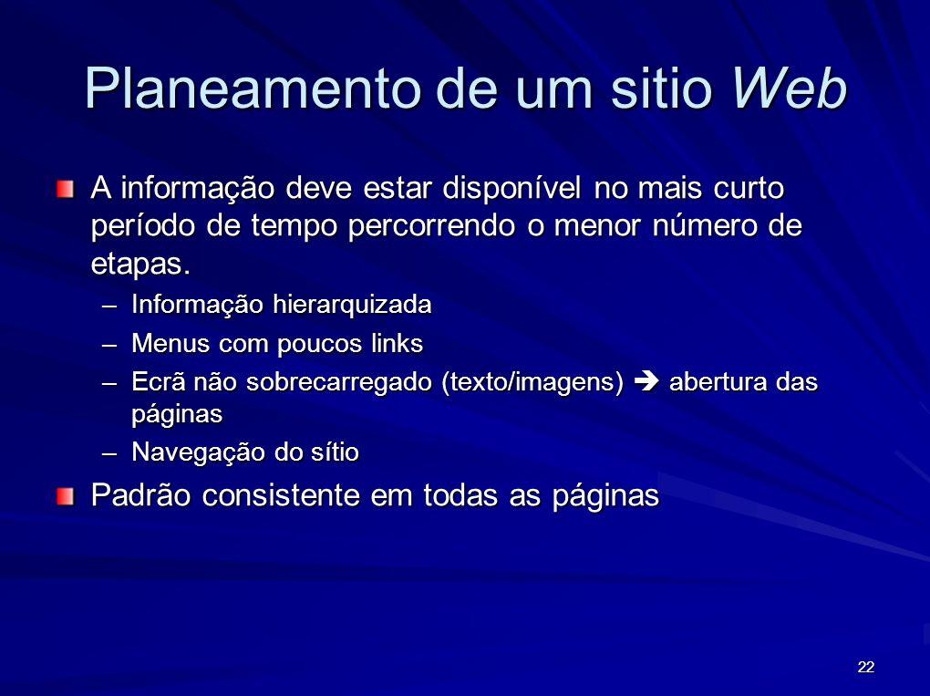 Planeamento de um sitio Web