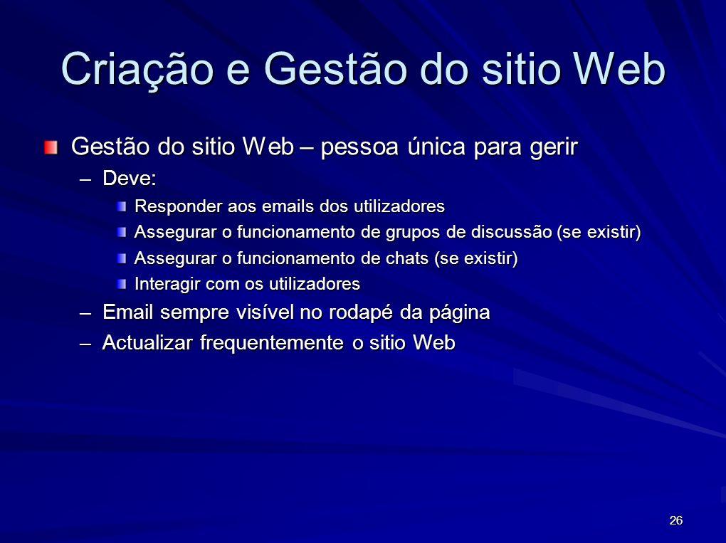 Criação e Gestão do sitio Web