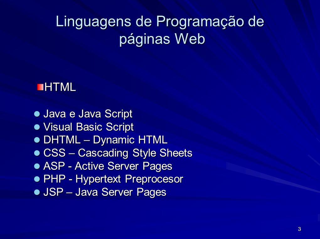 Linguagens de Programação de páginas Web