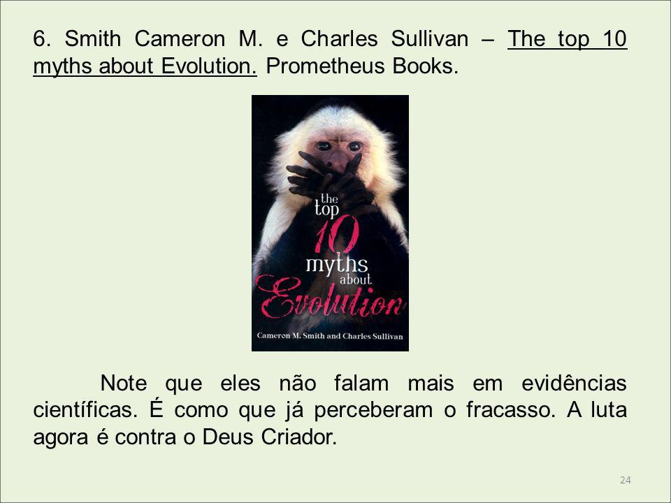 6. Smith Cameron M. e Charles Sullivan – The top 10 myths about Evolution. Prometheus Books.