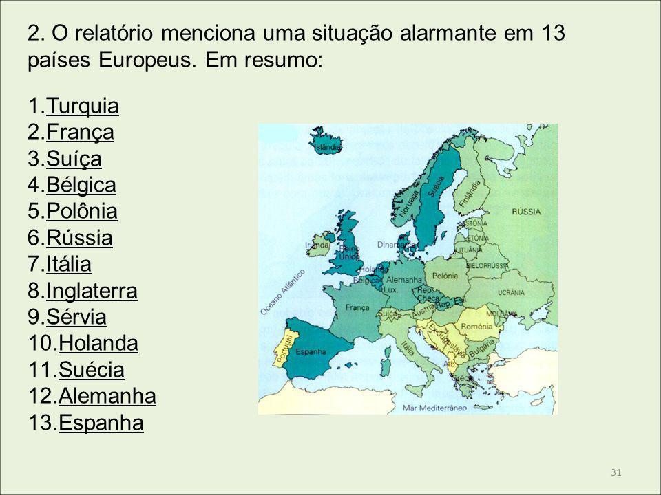 2. O relatório menciona uma situação alarmante em 13 países Europeus