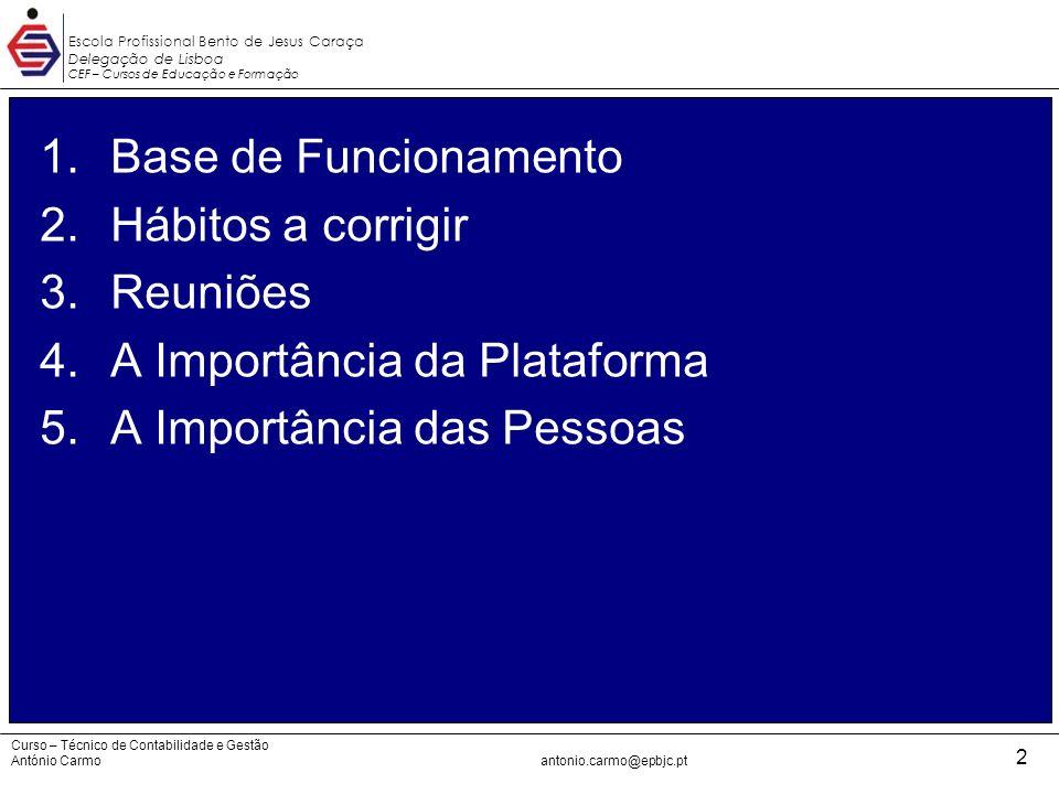 A Importância da Plataforma A Importância das Pessoas