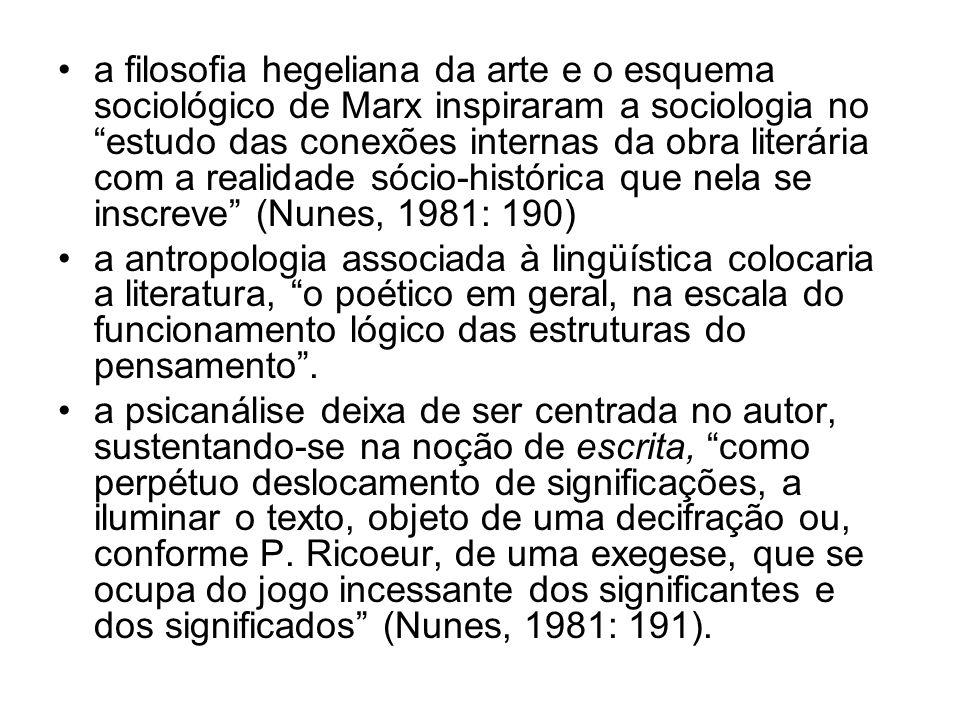 a filosofia hegeliana da arte e o esquema sociológico de Marx inspiraram a sociologia no estudo das conexões internas da obra literária com a realidade sócio-histórica que nela se inscreve (Nunes, 1981: 190)