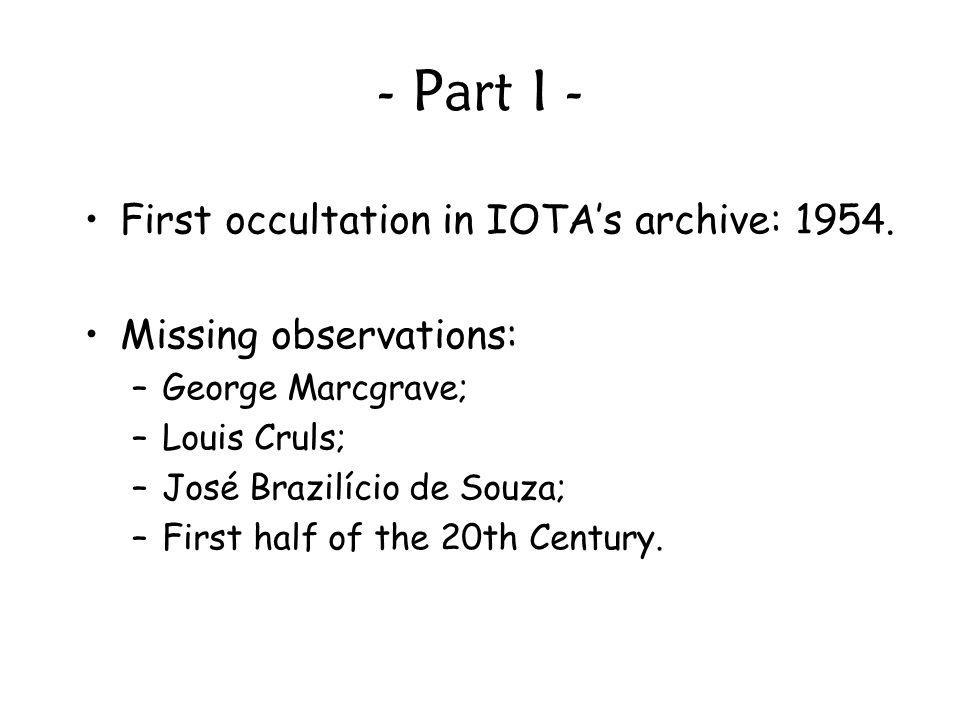 - Part I - First occultation in IOTA's archive: 1954.