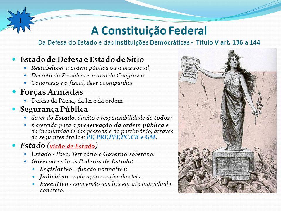 1 A Constituição Federal Da Defesa do Estado e das Instituições Democráticas - Título V art. 136 a 144.