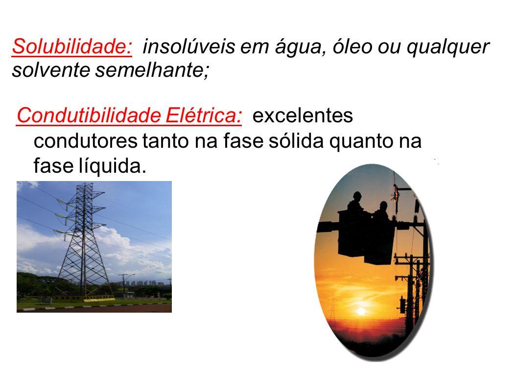Solubilidade: insolúveis em água, óleo ou qualquer solvente semelhante;