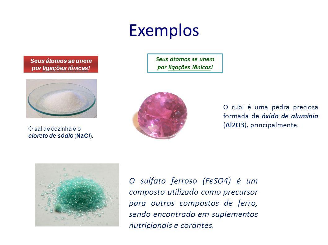 Exemplos Seus átomos se unem por ligações iônicas! Seus átomos se unem por ligações iônicas!