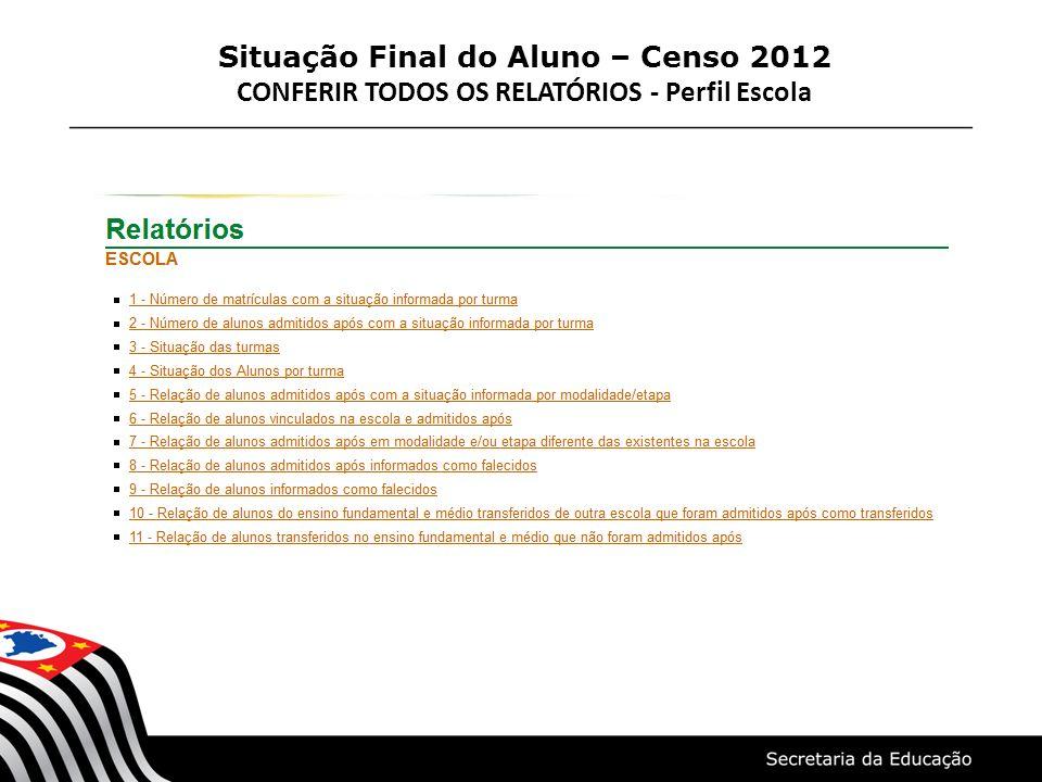Situação Final do Aluno – Censo 2012 CONFERIR TODOS OS RELATÓRIOS - Perfil Escola