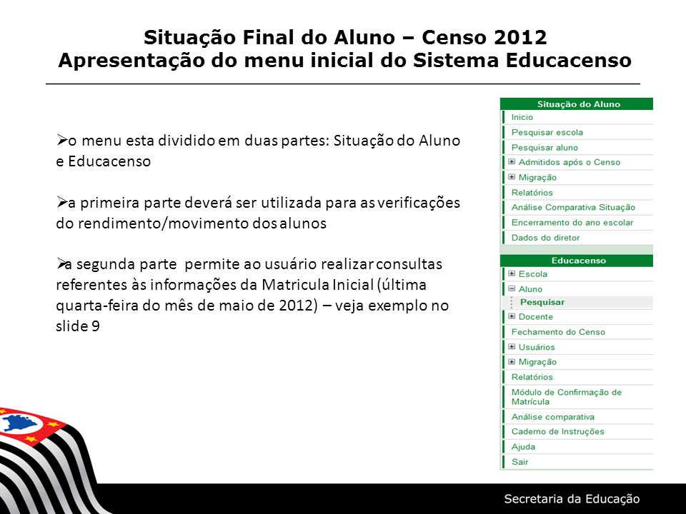 Situação Final do Aluno – Censo 2012 Apresentação do menu inicial do Sistema Educacenso