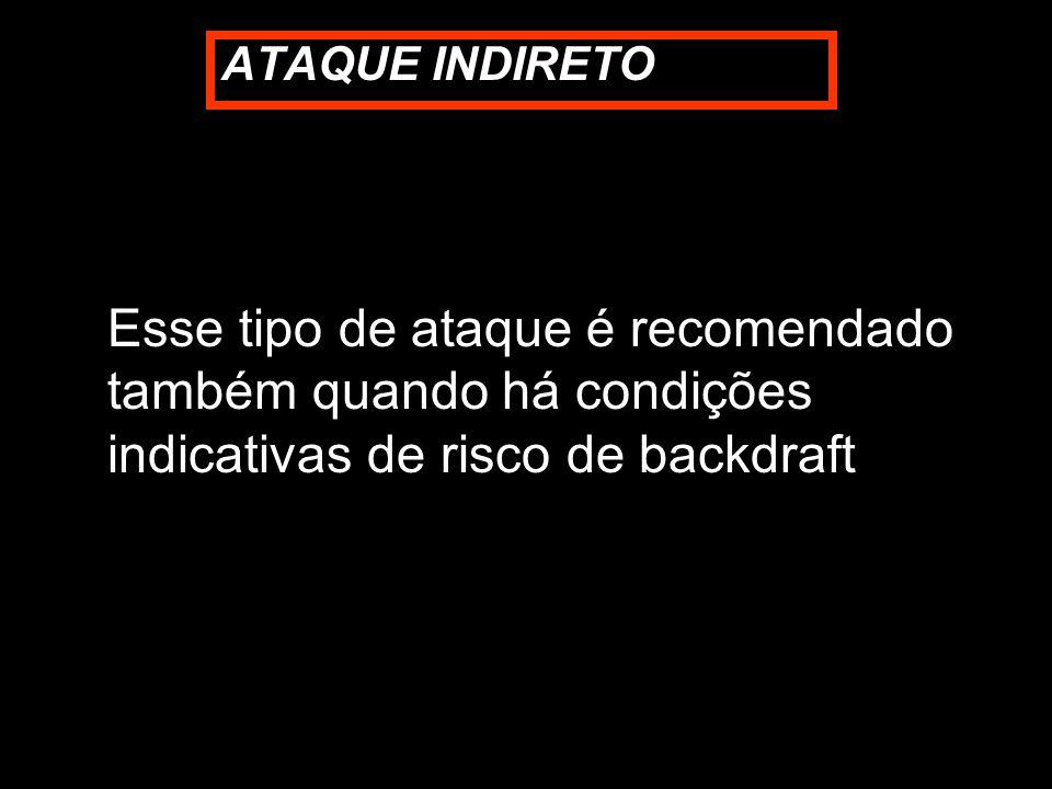 ATAQUE INDIRETO Esse tipo de ataque é recomendado também quando há condições indicativas de risco de backdraft.