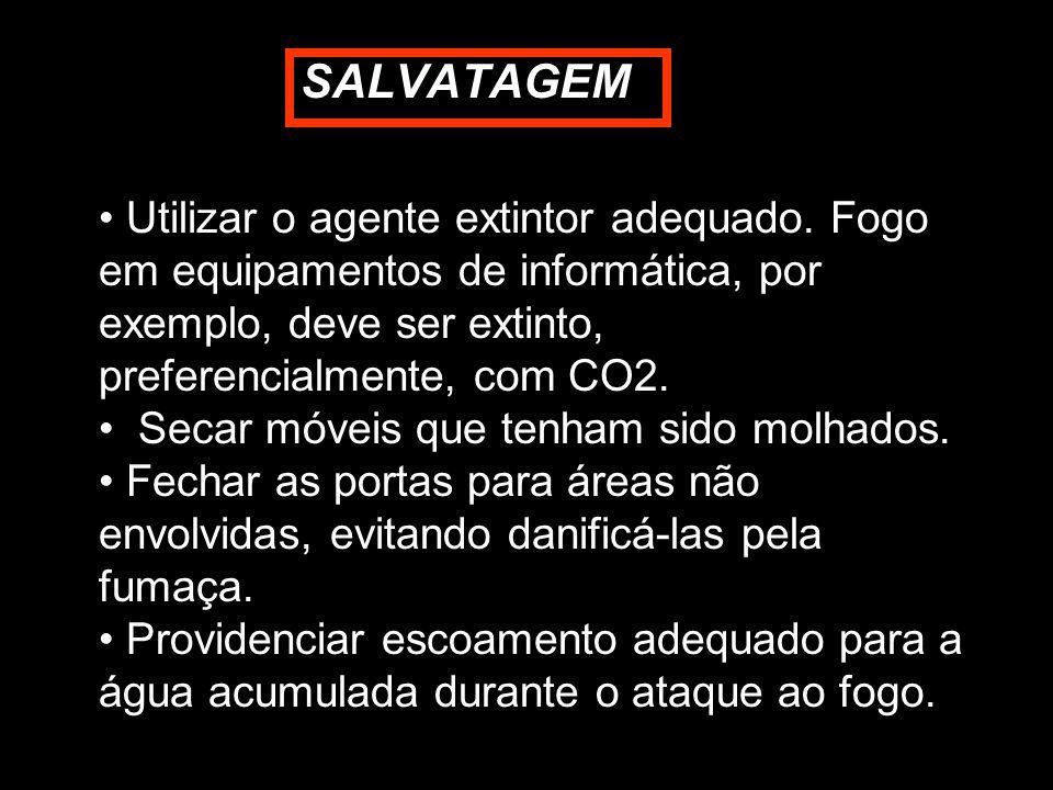 SALVATAGEM Utilizar o agente extintor adequado. Fogo em equipamentos de informática, por exemplo, deve ser extinto, preferencialmente, com CO2.