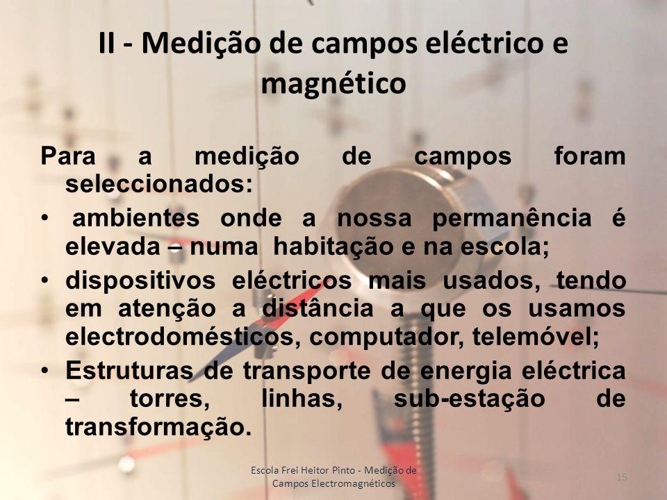 II - Medição de campos eléctrico e magnético