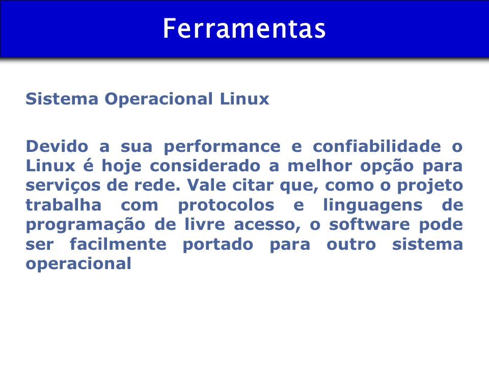 Ferramentas Sistema Operacional Linux