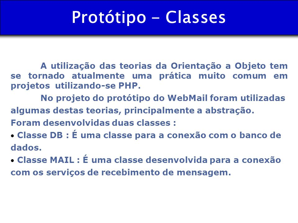 Protótipo - Classes