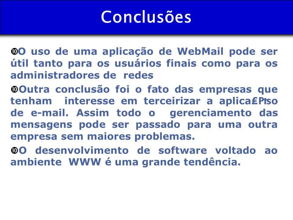 Conclusões O uso de uma aplicação de WebMail pode ser útil tanto para os usuários finais como para os administradores de redes.