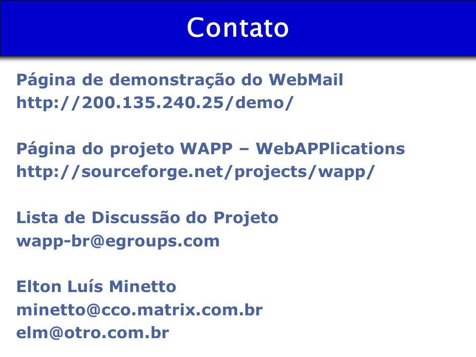 Contato Página de demonstração do WebMail http://200.135.240.25/demo/