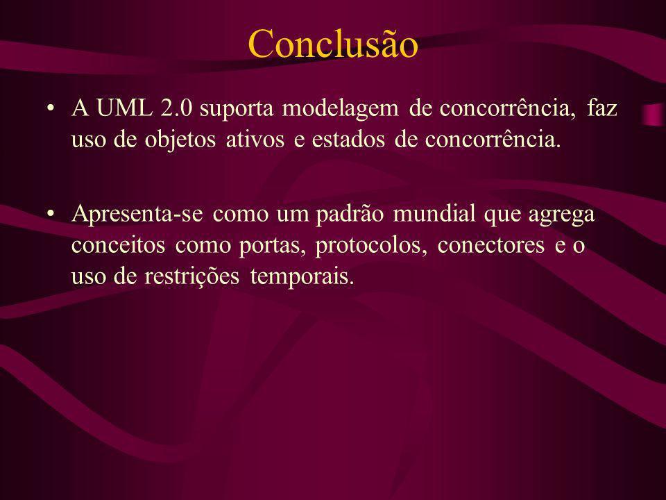 Conclusão A UML 2.0 suporta modelagem de concorrência, faz uso de objetos ativos e estados de concorrência.
