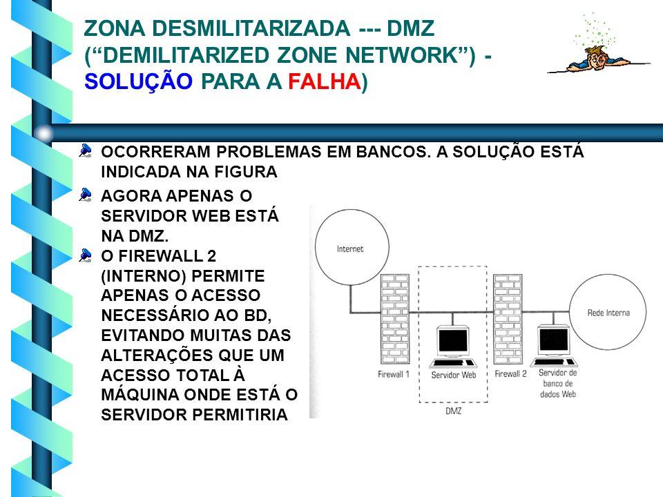 ZONA DESMILITARIZADA --- DMZ ( DEMILITARIZED ZONE NETWORK ) - SOLUÇÃO PARA A FALHA)