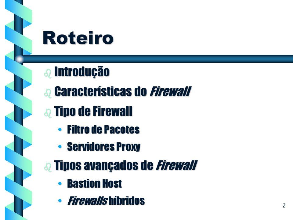 Roteiro Introdução Características do Firewall Tipo de Firewall