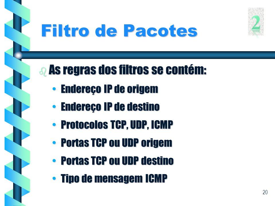 2 Filtro de Pacotes As regras dos filtros se contém:
