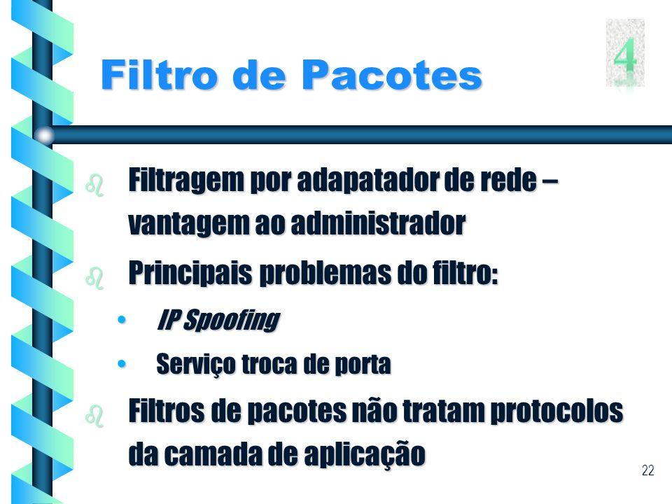Filtro de Pacotes 4. Filtragem por adapatador de rede – vantagem ao administrador. Principais problemas do filtro: