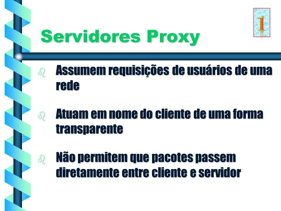 1 Servidores Proxy Assumem requisições de usuários de uma rede