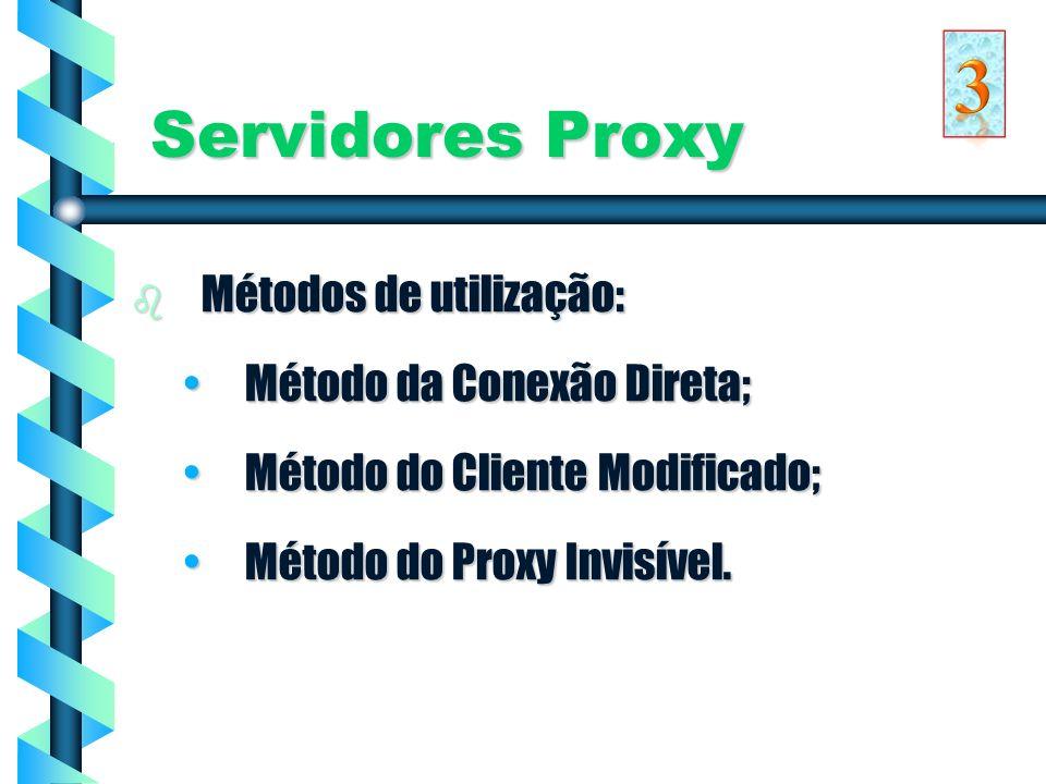 3 Servidores Proxy Métodos de utilização: Método da Conexão Direta;
