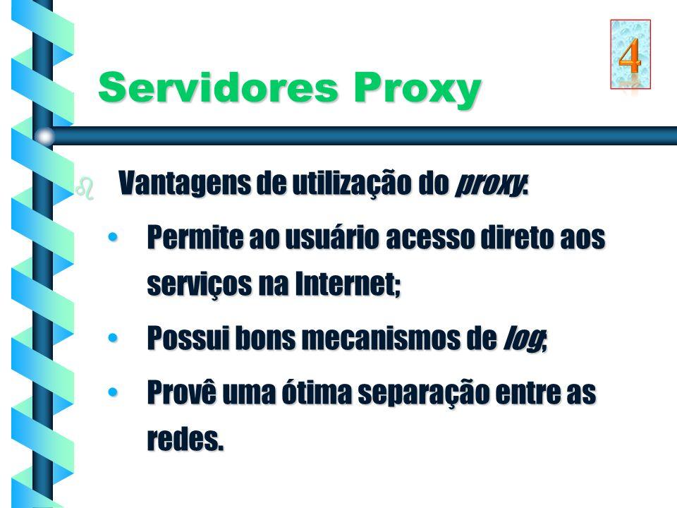 4 Servidores Proxy Vantagens de utilização do proxy: