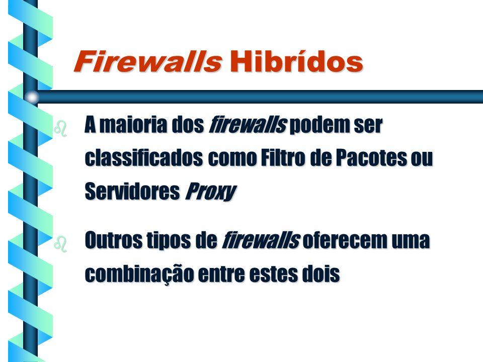 Firewalls Hibrídos A maioria dos firewalls podem ser classificados como Filtro de Pacotes ou Servidores Proxy.