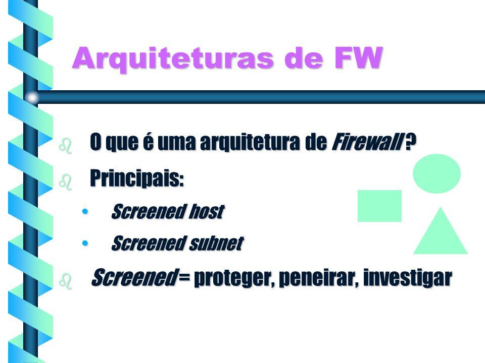 Arquiteturas de FW O que é uma arquitetura de Firewall Principais: