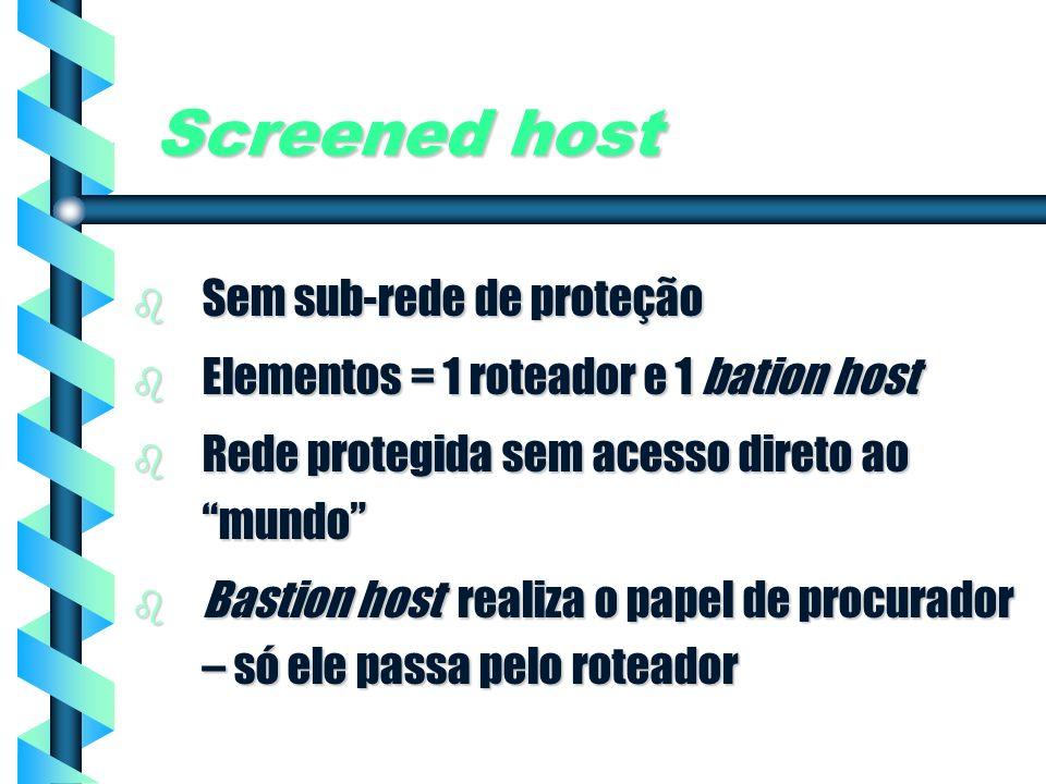 Screened host Sem sub-rede de proteção