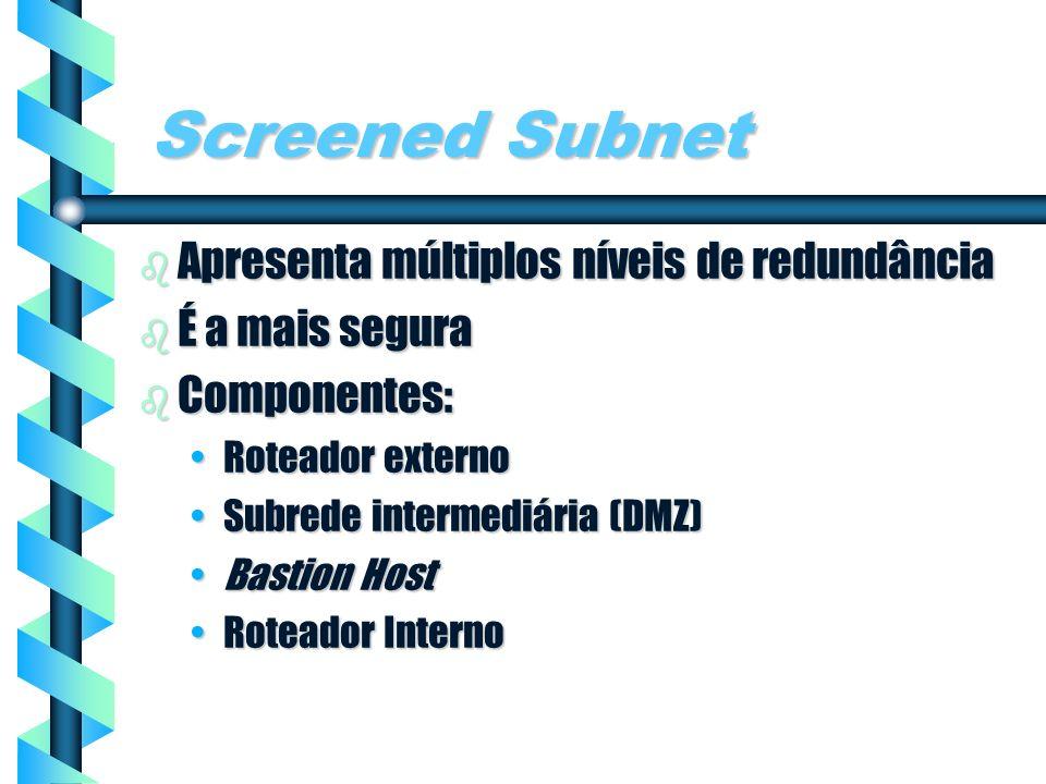 Screened Subnet Apresenta múltiplos níveis de redundância