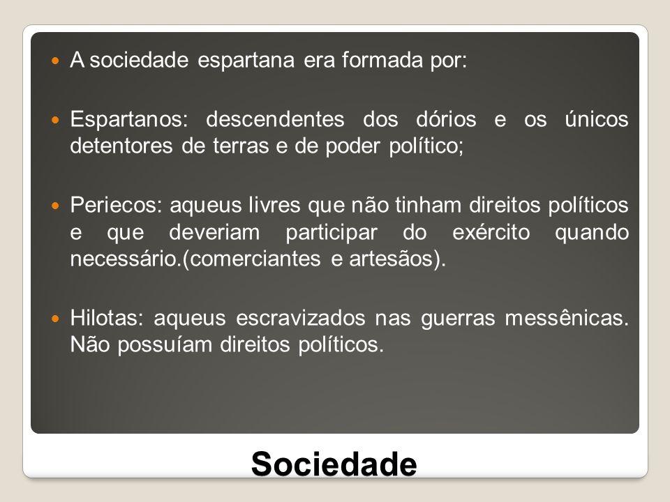 Sociedade A sociedade espartana era formada por: