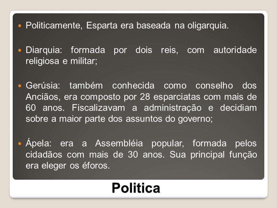 Politica Politicamente, Esparta era baseada na oligarquia.