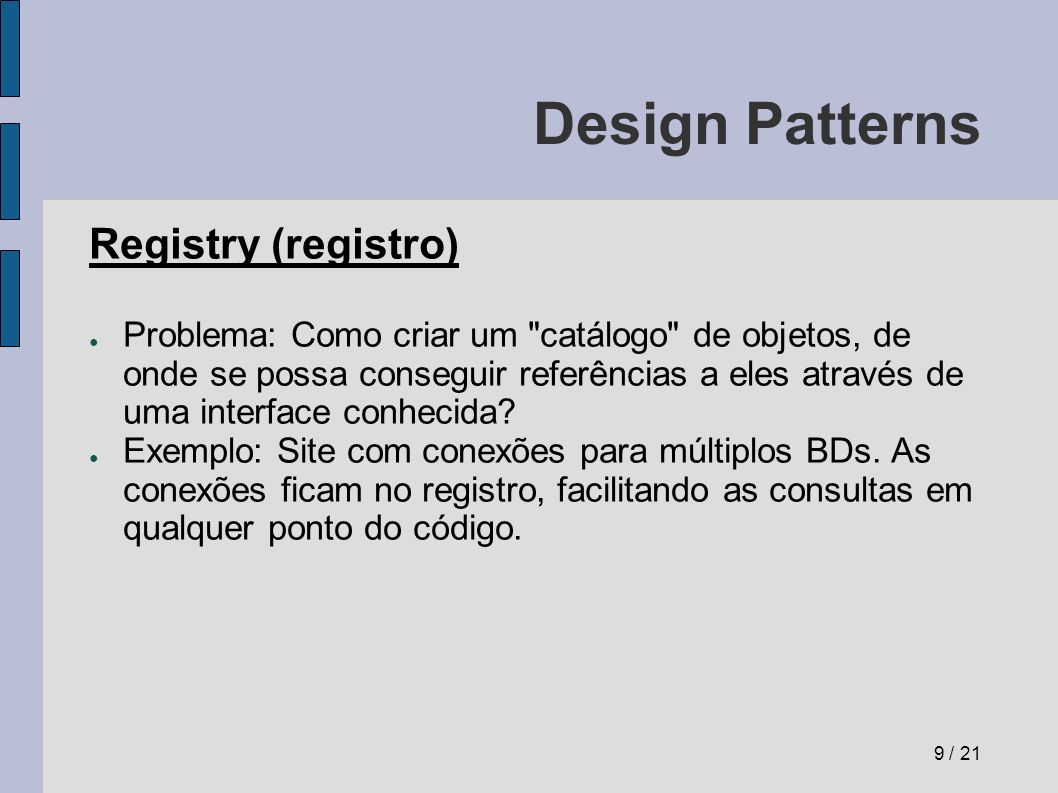 Design Patterns Registry (registro)
