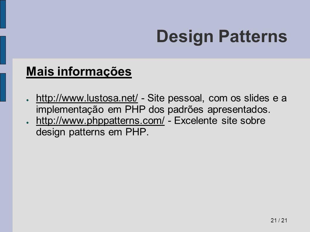 Design Patterns Mais informações