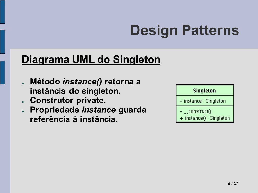 Design Patterns Diagrama UML do Singleton