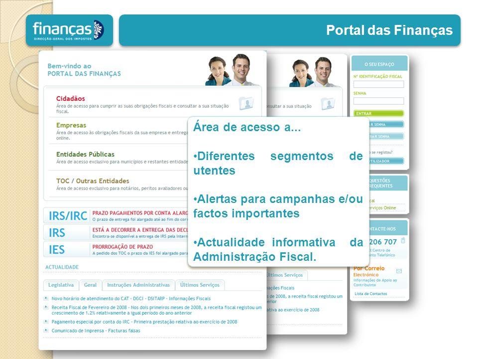 Portal das Finanças Área de acesso a...