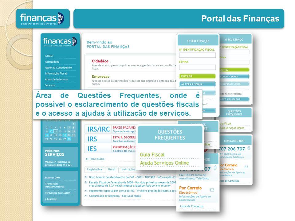 Portal das Finanças Área de Questões Frequentes, onde é possível o esclarecimento de questões fiscais e o acesso a ajudas à utilização de serviços.