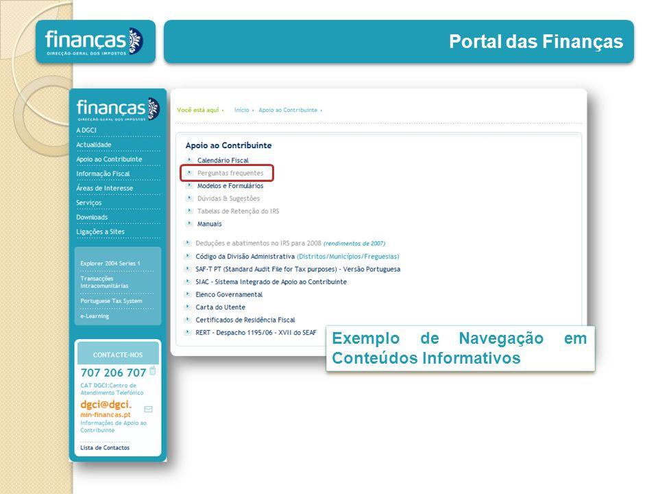 Portal das Finanças Exemplo de Navegação em Conteúdos Informativos