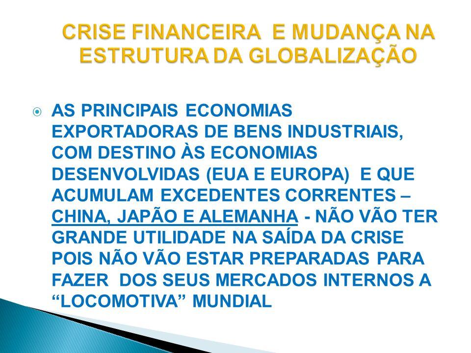CRISE FINANCEIRA E MUDANÇA NA ESTRUTURA DA GLOBALIZAÇÃO