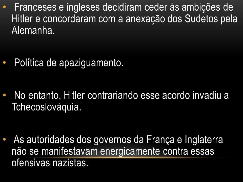 Franceses e ingleses decidiram ceder às ambições de Hitler e concordaram com a anexação dos Sudetos pela Alemanha.