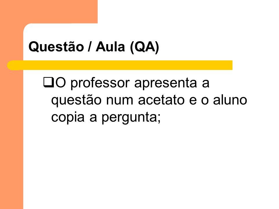 Questão / Aula (QA) O professor apresenta a questão num acetato e o aluno copia a pergunta;