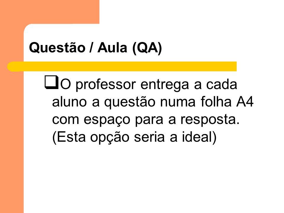 Questão / Aula (QA)O professor entrega a cada aluno a questão numa folha A4 com espaço para a resposta.