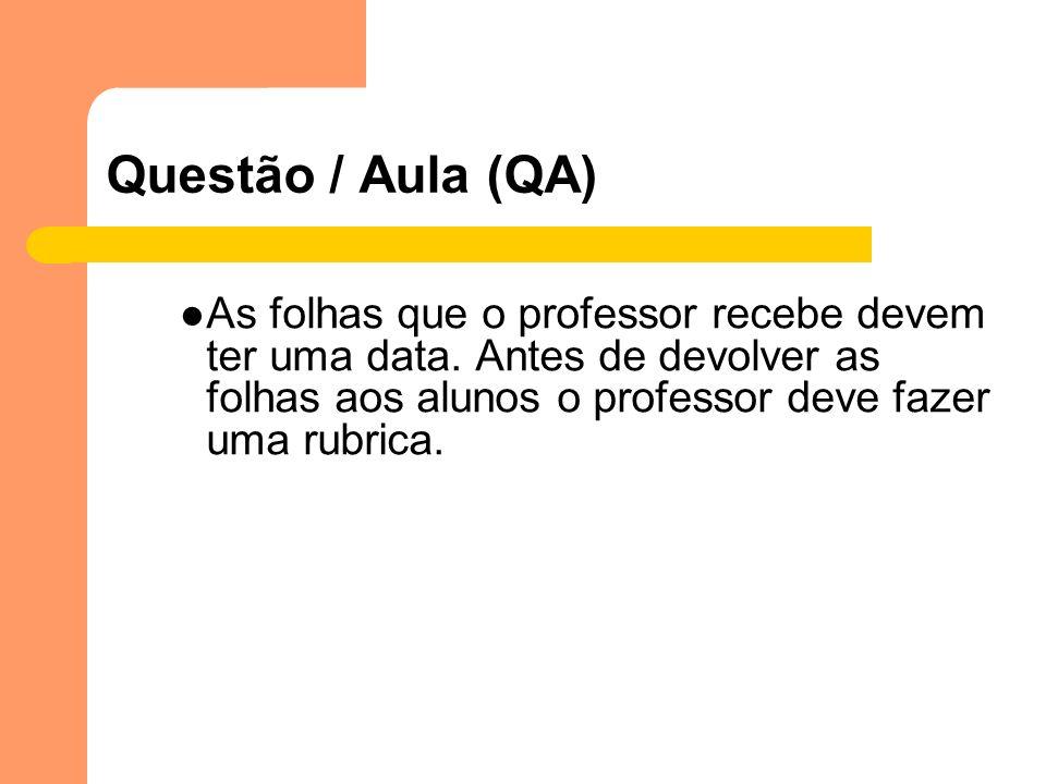 Questão / Aula (QA)As folhas que o professor recebe devem ter uma data.