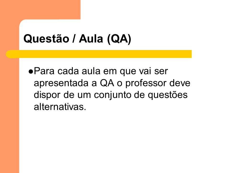 Questão / Aula (QA)Para cada aula em que vai ser apresentada a QA o professor deve dispor de um conjunto de questões alternativas.