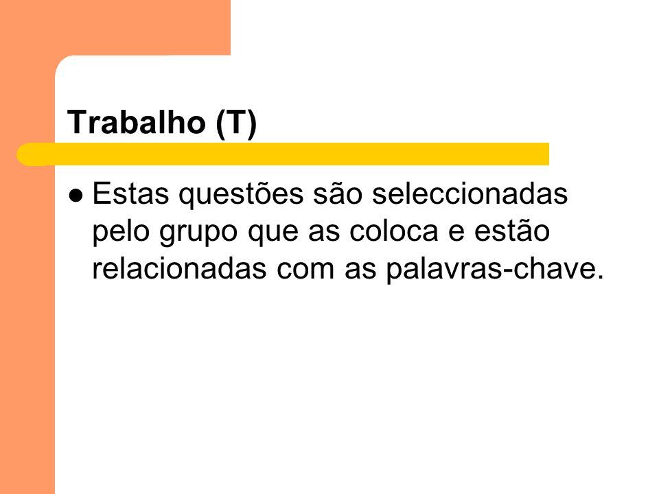 Trabalho (T) Estas questões são seleccionadas pelo grupo que as coloca e estão relacionadas com as palavras-chave.