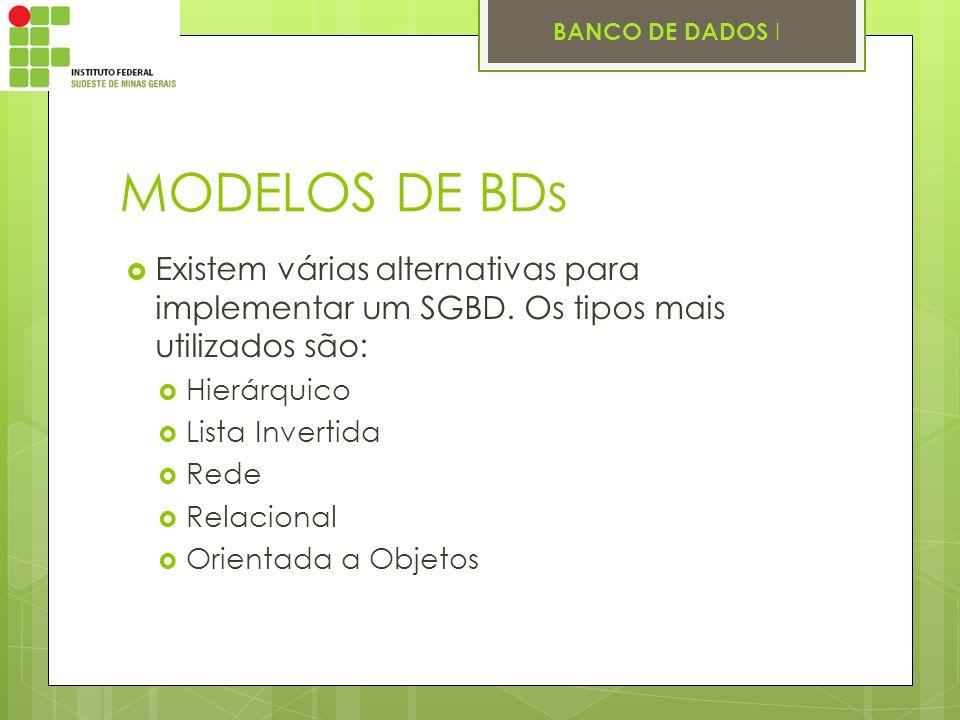 MODELOS DE BDs Existem várias alternativas para implementar um SGBD. Os tipos mais utilizados são: Hierárquico.